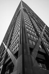 V (jcbmac) Tags: passionphotography building chicago bw windows walk fujifilm blackwhite bnw hancock intersection urban monotone monochrome desaturated v bnwdrama fuji sky fujifilmxt20 skyscraper blackandwhite xt20 tall