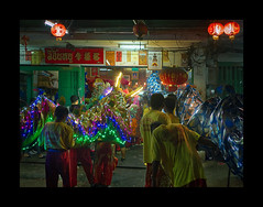 Dragons in my shop.... (Antoine - Bkk) Tags: ceremony bangkok thailand festival tradition chinese shop dragon taladnoi documentary