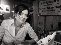 💣💥 (Ladyhelen_) Tags: helen portrait woman donna restaurant unexplodedbomb 💣 lady ladyhelen musiclover hedonist jimmorrison myfire 🔥 danger mystory blackwhite helenasophie smile smilingwoman sorriso poet