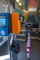 slot and hook for bike wheel (citymaus) Tags: helsinki finland commute commuter train vr bike cycling cycleinfrastructure ticket onboard fare machine seating folding area slot wheel bikes bicycles transit transportation transport trash can receptacle validate validator