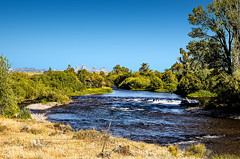 Small Diversion Dam On Falls River (wyojones) Tags: idaho chester us20 fallsriver trees rapids water basalt columnarbasalt cottonwoods september fishing fishermen clouds afternoon igneous lava extrusive rock fremontcounty 83421 willows diversiondam irrigation