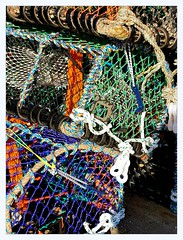lobster pots (overthemoon) Tags: uk northyorkshire england scarborough southbeach lobsterpots blue green orange nets
