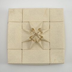 Box with Decorated Maltese Cross (Michał Kosmulski) Tags: origami papiroflexia paperfolding box tessellation cross maltesecross michałkosmulski elephanthidepaper