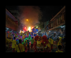 Firecrackers gate (Antoine - Bkk) Tags: ceremony festival thailand bangkok tradition chinese night dragon firework documentary