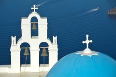 Fira, Santorini (Seventh Heaven Photography - (Travel)) Tags: fira santorini island cyclades caldera church cathedral dome blue water sea bells cross white boat nikond3200 greece greek aegean agios theodoros firastefani