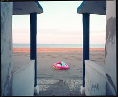 (First Time Feeling) (Robbie McIntosh) Tags: mamiyarb67pros mamiyarb67 mamiya mamiyasekor65mmf45 120 mediumformat 6x7 negative film filmisnotdead moyenformat mittelformat medioformato pellicola bellinifotoc41 bellini c41 dyi selfdevelopment homedevelopment newtopographics landscape autaut kodakektar kodak ektar kodakektar100 topography topographics decay beach sea alteredlandscape dawn baiaverde castelvolturno