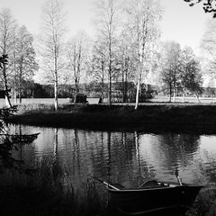P1030523 (johnströmsund) Tags: black blackandwhite boat forest landscape lapland lappland nature norrland morning outdoors river reflection sky trees tree water white