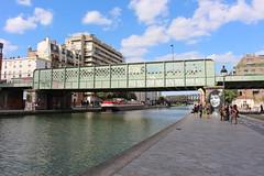 Paris along the canal Saint Martin - Quai de la Marne (Bricovoyage) Tags: paris canal saint martin ourcq bastille la villette lavillette boat pont passerelle bridge quai de marne