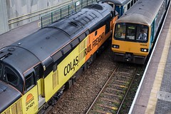 Old meets older (Nodding Pig) Tags: terphil railway station train rhymney valley caerphilly cymru wales class37 dieselelectric locomotive englishelectric type3 37421 colasrailfreight class143 dieselmultipleunit pacer alexander barclay noddingdonkey 143606 tfw transportforwales 201908152129101
