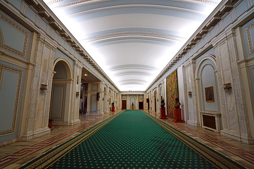 Corridor with a green carpet, Palace of Parliament, Bucharest