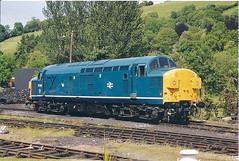 37037 Buckfastleigh (British Rail 1980s and 1990s) Tags: ee englishelectric br britishrail type3 growler tractor 37 class37 train rail railway loco locomotive livery liveried diesel traction blue preserved preservation heritageline sdr southdevonrailway dieselgala 00s 2000s 37037