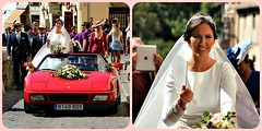 White wedding, red Ferrari! (Peter Denton) Tags: spain españa riodanno street procession streetparty granada andulacía eu europe europa ferrari sportscar red bride wedding smile ©peterdenton canoneos100d city diptych weddingdress whitewedding bouquet