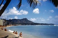Waikiki Beach Diamond Head 1946 (Kamaaina56) Tags: 1940s waikiki hawaii beach slide