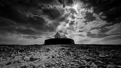 St Cwyfan Church (paullangton) Tags: stcwyfan church wales angelsey sky clouds mono bw blackandwhite rocks sea island light faith