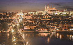 Prague by night (Peter Szasz) Tags: colourful canon canon80d 80d 2470mm prague peaceful praha clear calm cseh czech bohemia city cityscape landscape river reflection riverbank bridge charles karluv night lights lamps medieval sky dark purple blue church towers cathedral vitus travel summer evening boats water vltava castle wideangle wide life people street stones concrete cobblestone architecture old bright light outdoors postcard buildings beautiful longexposure faded vintage walk interesting path