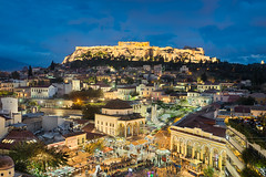 Athens at Night (Michael Abid) Tags: athens greece acropolis parthenon night skyline landmark temple ancient ruin monastiraki mountain city sunset aerial architecture panorama famous historic history old greek antique archeology archeological building travel europe square busy