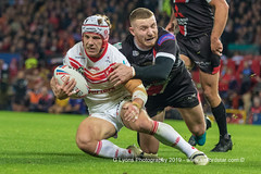 Jackson Hastings tackles Theo Fages-1890 (G I Lyons) Tags: rugbyleague betfredsuperleague grandfinal oldtrafford salfordreddevils sthelens saints trafford greatermanchester unitedkingdom