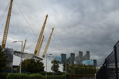 North Greenwich (Spannarama) Tags: stormy clouds darkclouds buildings skyline architecture thamespath northgreenwich london uk o2 millenniumdome supports cables