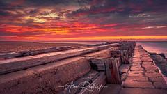 Scarlet Landguard (Aron Radford Photography) Tags: landguard point fort jetty rail beach coast sunrises dawn felixstowe suffolk sea defences abandoned sky uk landscape nature