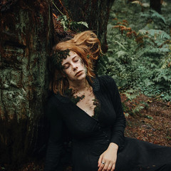 Reclaiming (Ruby Hyde) Tags: hozier conceptual photography fineartphotography fineart earth moss girl dress tree forest woods dirt pale redhead portrait surreal surrealism green brown