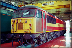 56103, Crewe Works (Jason 87030) Tags: ews maroon gold 56103 works shed inside roof tour openday may 2000 colour lighting shot record wheels diesel engine loc locomotive routine repair maintenance view transport loco class56 morris lifting crane whatever