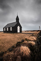 Black Church - Iceland (marcel.weber89) Tags: church religion sky landscape old architecture building chapel rural iceland nature religious field blue clouds europe country white hill tower god grass countryside steeple house blackchurch black foggy moody winter icelandic wall yellow travel traveling outdoor snaefellsnes cemetery cloudy stormy nordic north