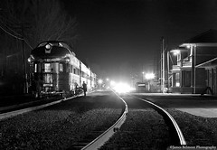 Highball Provo (jamesbelmont) Tags: riogrande riograndezephyr provo utah emd f9a streamliner passenger night nocturnal monochrome silversky budd domeobservation vistadome conductor timelapse
