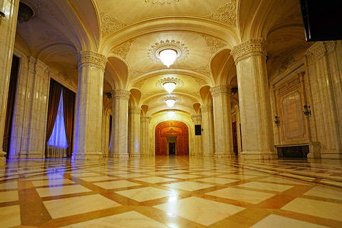 Marble hall with pillars, Palace of Parliament, Bucharest