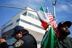 Flags (dtanist) Tags: nyc newyork newyorkcity new york city sony a7 7artisans 35mm brooklyn bath beach bensonhurst columbus day parade italian american fiao flag flags hawker seller auxiliary police officer nypd cop