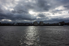 View from Mordern Wharf (Spannarama) Tags: stormy clouds darkclouds buildings skyline architecture river thames thamespath northgreenwich london uk sunlight mordernwharf