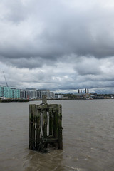 View from Mordern Wharf (Spannarama) Tags: stormy clouds darkclouds buildings skyline architecture river thames thamespath northgreenwich london uk mordernwharf greenwichpowerstation