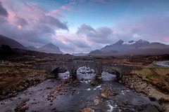 Sligachan Bridge, isle of Skye (Michael Long Landscaper) Tags: glensligachan isleofskye cuillinmountains berg bridge arch scotland mountains river water skye lockalsh sunrise falls wet seascape landscape europe uk canon gitso highlands snow snowcapped rocks visitscotland clouds longexposure