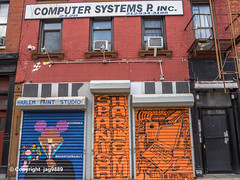 Computer Systems P. Inc., East Harlem, New York City (jag9889) Tags: 2019 20191012 art artwork color eastharlem entrance gate graffiti harlem manhattan mural ny nyc newyork newyorkcity outdoor painting rolldown secondavenue securitygate shop sign spanishharlem store streetart tagging text usa unitedstates unitedstatesofamerica jag9889