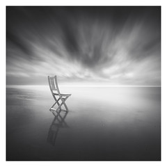 Enjoy the clouds (Marco Maljaars) Tags: longexposure lee filter marcomaljaars seascape sea water le bw blackandwhite monochrome mood canon canon70d 70d ocean netherlands backlight sky reflection beach wood chair cloud