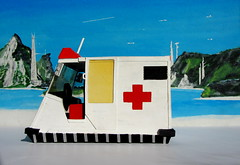 Scratch Built Futuristic Hover Ambulance Model Made From Cardboard From A Picture In The 'The World Of Robots' 1979 Book By Usborne : Diorama Futuristic Beach Setting - 16 Of 16 (Kelvin64) Tags: scratch built futuristic hover ambulance model made from cardboard a picture in the world of robots 1979 book by usborne diorama beach setting