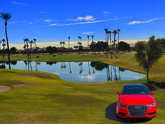 Audi Duty (oybay©) Tags: audi german automobile car golfcourse stardust golfclub suncitywest arizona pond reflections water green greens palm trees palmtree sky clouds color colors colorful