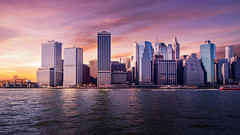 Manhattan skyline (MacCabri) Tags: tower buildings sea colorful clouds sky manhattan skyline newyork nyc