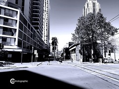 Monotonic Essence (djk_paulus) Tags: town city building intersection road rail sydney australia blackwhite black white bw android smartphone samsung monochrome urban