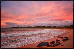 Sunrise, Kealia Beach, Kauai. (peterrath) Tags: sunrise sunset landscape seascape sun sky clouds beach water sand rocks color kauai hawaii kealia canon eos 5dsr