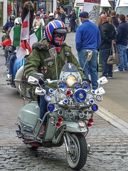 Leader of the pack (fotosforfun2) Tags: scooter vespa transport bike lights unionjack unionflag england horsham sussex event mod mods jacket flag blue red white