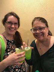 Valerie and Glenda Drinking Green Elixer