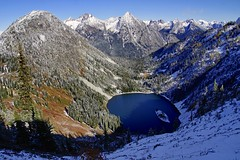 The meeting of autumn and winter (Mary Ann Whitney-Hall) Tags: alpine lake lakeann northcascades autumn snow hike maplepasshike trees mountains pines larch water island landscape view washingtonstate