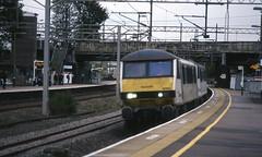 Class 90 light engine pair, Lichfield TV (GWR King Class) Tags: film pentax railway wcml
