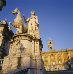 Statue of one of the Dioscuri (Lobster account) Tags: hill city sculpture europe architecture capitoline campidoglio landmark cityscape rome outdoor statue horse capital european travel piazza square attraction hall capitol italy historical building ancient tourism old urban italian