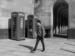 FX307413-1-2 (Lawrence Holmes.) Tags: fuji x30 streetphotography street blackandwhite phonebox juxtaposition manchester uk lawrenceholmes