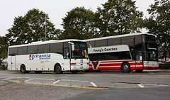 Vanhool's at Ely (Chris Baines) Tags: britannia excutive hitchen volvo vanhool ft52 wgt passes youngs coaches astromega ely rail replacement