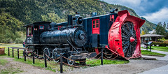 2019 - HAL Alaska Cruise - 21 - Port of Skagway - 2 (Ted's photos - For Me & You) Tags: 2019 cropped nikon nikond750 nikonfx skagway skagwayalaska tedmcgrath tedsphotos usa vignetting steamengine rotarysnowplow red redrule chain engine52 whitepassandyukon railway railroad chainlink