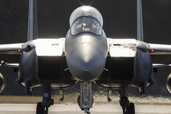 Head On. (Tris1972 (tmorphewimages.co.uk)) Tags: 48th fighter wing liberty usaf raf lakenheath suffolk aircraft f15 eagle fast jets aviation plane photography military f15e airplane jet airbase uk heathaze