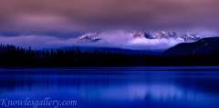 Foggy Mountains in the early morning light below is a forest (The Knowles Gallery) Tags: autumn idaho lake sawtooths stanley trees fall forest morning nature outdoors seasonspecific sunrise wilderness