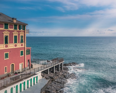 Lungomare (RobMenting) Tags: genova liguria seashore pier water italy vacation noperson town sea summer travel house sky architecture rocks outdoors europe fairweather lungomare houses genua italië